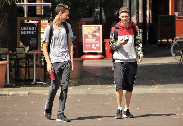 Roommates walking outside.