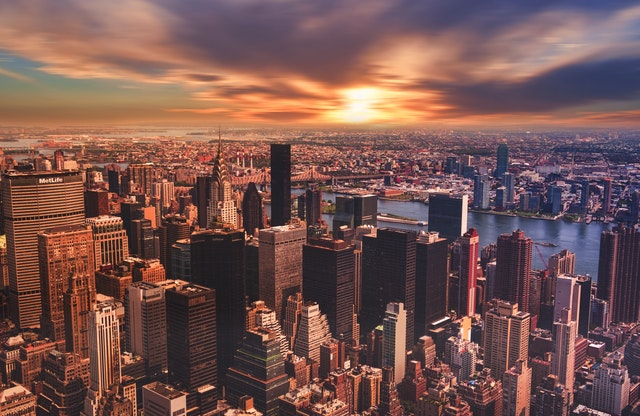NYC view at sunset.