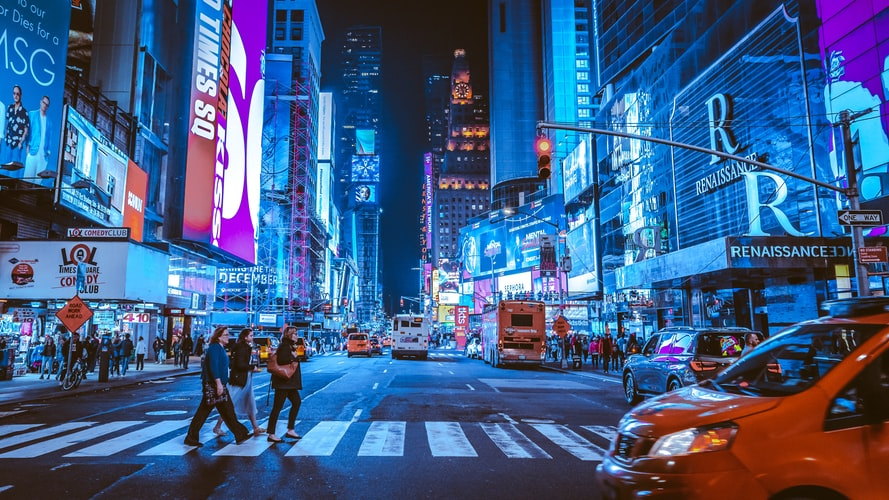 Time Square in the Big Apple during night time.